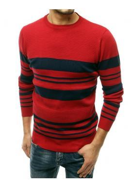 Klasické pánske svetre červenej farby s kontrastnými pruhmi