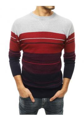 Pánsky štýlový sveter s kontrastnými pruhmi v svetlosivej farbe