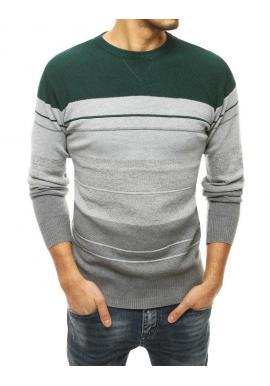Zelený štýlový sveter s kontrastnými pruhmi pre pánov