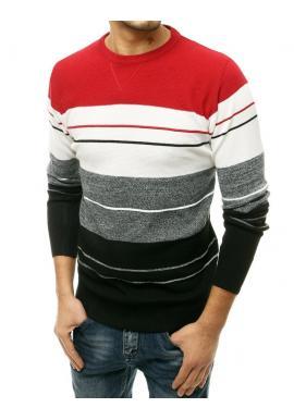 Štýlový pánsky sveter červenej farby s kontrastnými pruhmi