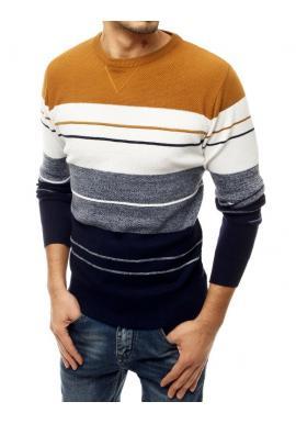 Pánsky štýlový sveter s kontrastnými pruhmi v béžovej farbe
