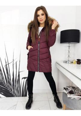 Prešívaná dámska bunda bordovej farby s kapucňou