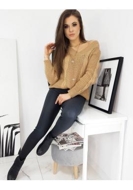 Hnedý voľný sveter s véčkovým výstrihom pre dámy
