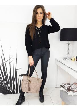 Dámsky voľný sveter s véčkovým výstrihom v čiernej farbe