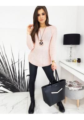 Ružový voľnejší sveter pre dámy