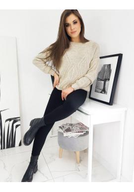 Béžový voľný sveter so vzorom pre dámy