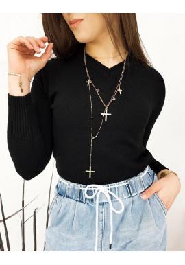 Klasický dámsky sveter čiernej farby s véčkovým výstrihom