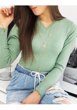 Dámsky klasický sveter s véčkovým výstrihom v zelenej farbe