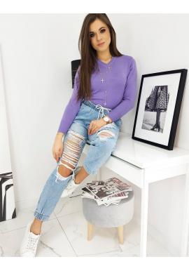 Fialový klasický sveter s véčkovým výstrihom pre dámy
