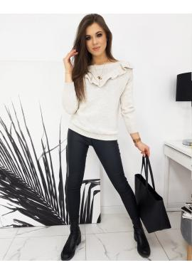 Béžový elegantný sveter s volánom pre dámy