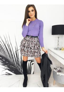 Dámsky klasický sveter s okrúhlym výstrihom vo fialovej farbe