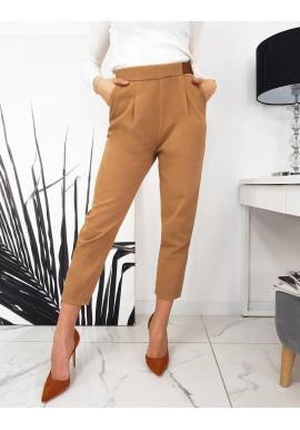 Dámske elegantné nohavice s voľnejším strihom v hnedej farbe