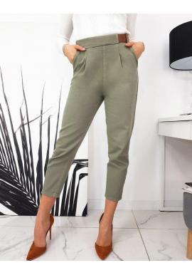Elegantné dámske nohavice kaki farby s voľnejším strihom
