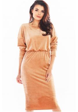 Velúrové dámske šaty béžovej farby s nastaviteľnou dĺžkou