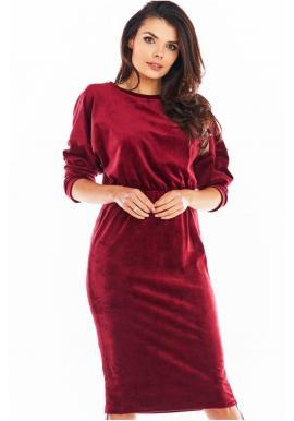 Dámske velúrové šaty s nastaviteľnou dĺžkou v bordovej farbe