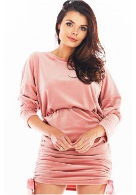 Ružové velúrové šaty s nastaviteľnou dĺžkou pre dámy