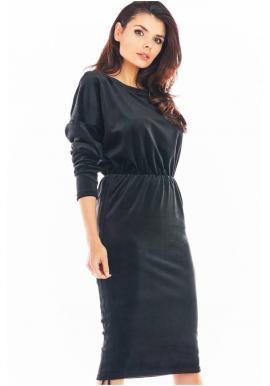 Velúrové dámske šaty čiernej farby s nastaviteľnou dĺžkou
