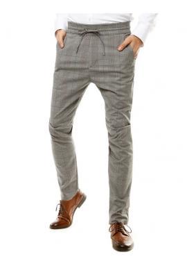Pánske kockované nohavice s viazaním v páse v sivej farbe