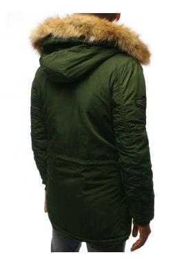 Zelená zimná Parka s kapucňou pre pánov