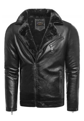 Pánska oteplená kožená bunda na zimu v čiernej farbe