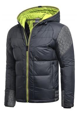 Modro-zelená zimná bunda s kapucňou pre pánov
