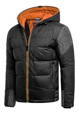 Pánska zimná bunda s kapucňou v čierno-oranžovej farbe