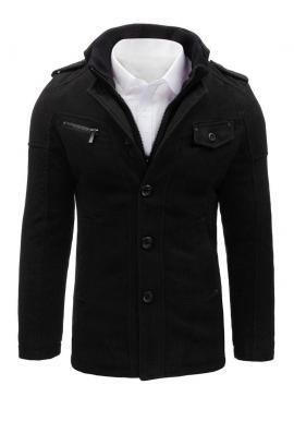 Čierny jednoradový kabát s odopínacím golierom pre pánov
