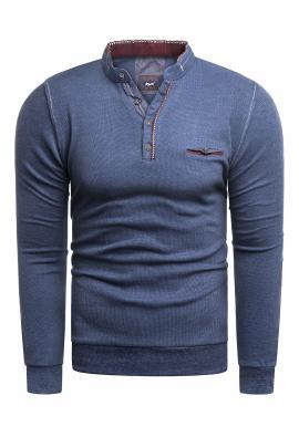 Modrý klasický sveter so zapínaným výstrihom pre pánov