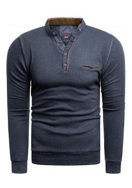Klasický pánsky sveter tmavomodrej farby so zapínaným výstrihom