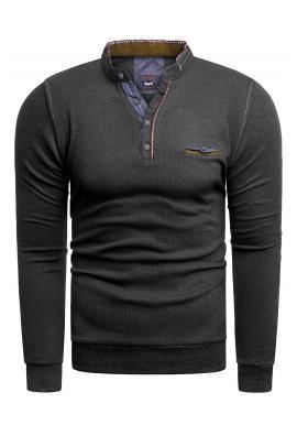 Čierny klasický sveter so zapínaným výstrihom pre pánov