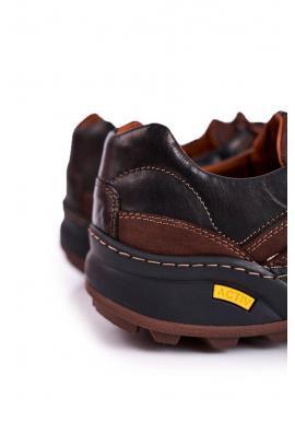 Hnedé kožené trekingové topánky pre pánov