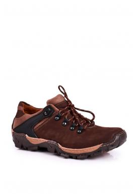 Kožené trekingové pánske topánky hnedej farby