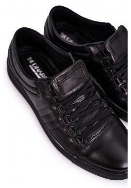 Športové kožené pánske poltopánky čiernej farby