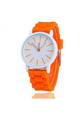 Oranžové hodinky na silikónovom remienku pre dámy