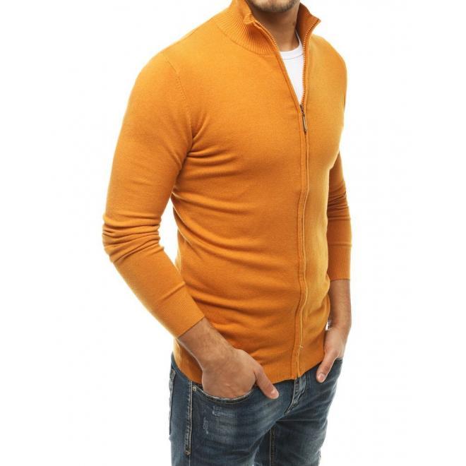 Žltý zapínaný sveter so stojacím golierom pre pánov