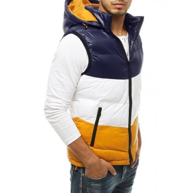Prešívaná pánska vesta tmavomodrej farby s kapucňou
