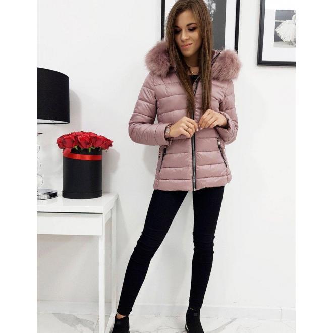 Prešívaná dámska bunda ružovej farby na zimu