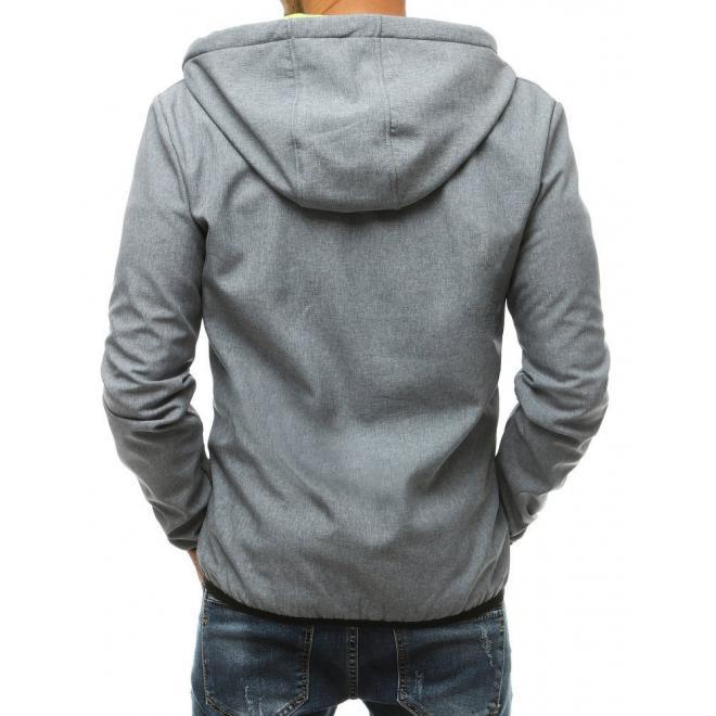 Softshellové pánske bundy sivej farby s kapucňou