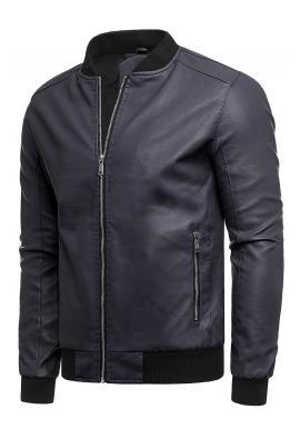 Prechodná pánska kožená bunda tmavomodrej farby