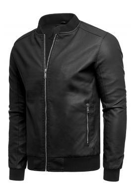 Čierna prechodná kožená bunda pre pánov