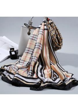 Elegantný dámsky šifónový šál béžovej farby so vzorom