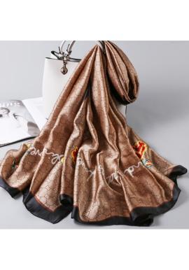 Hnedý elegantný šifónový šál so vzorom pre dámy