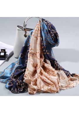 Elegantný dámsky šifónový šál modro-béžovej farby so vzorom