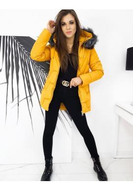 Prešívaná dámska bunda žltej farby na zimu