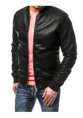 Pánska koženková bunda v čiernej farbe