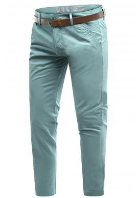 Tyrkysové bavlnené chinos nohavice pre pánov
