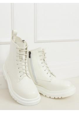 Biele módne Workery s vysokou podrážkou pre dámy