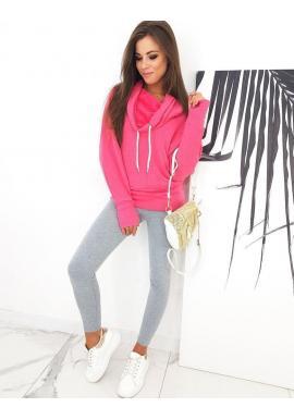 Športová dámska mikina ružovej farby s golierom