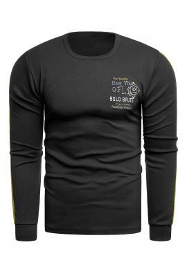 Čierna klasická mikina s kontrastnými pruhmi pre pánov