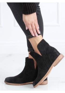 Ažúrové dámske topánky čiernej farby na skrytom opätku